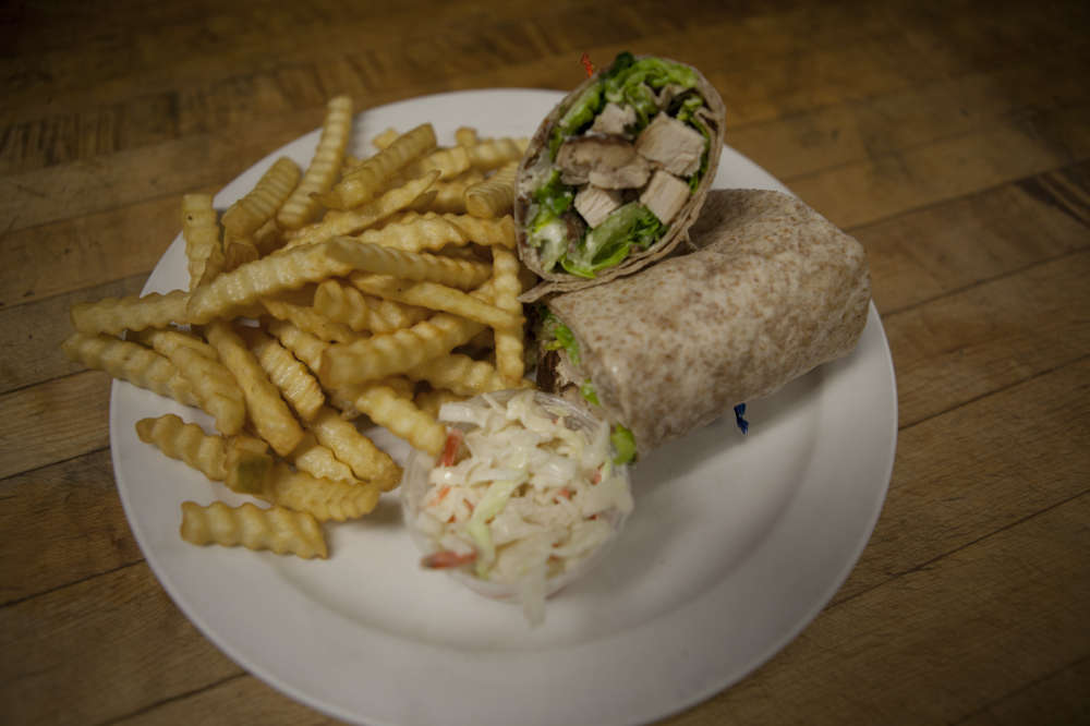 Chicken Caesar Wrap and Fries